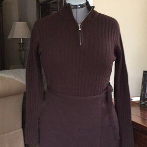 2 pc. Merino wool turtle neck sweater, wrap skirt.